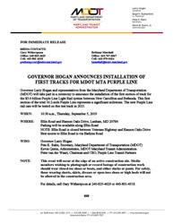 Preview of MDOT MTA Purple Line First Rail Advisory